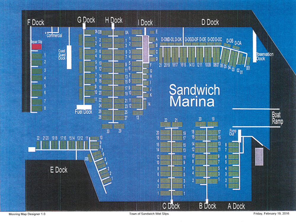 Sandwich Marina Slips Map
